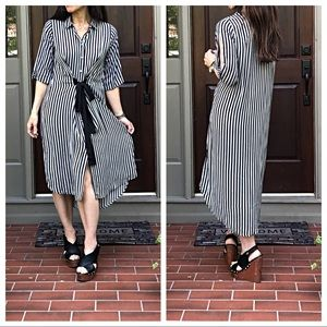 Dresses & Skirts - Striped high low tie front shirt dress